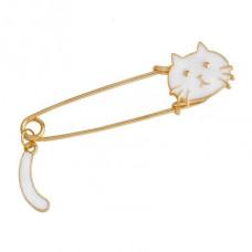 ZN013-1 Значок - булавка Кошка, металл, эмаль, цвет белый 65х18мм