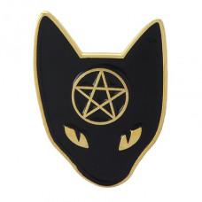 ZN025-G Значок Кошка с пентаграммой, металл, эмаль, золот. 26х20мм