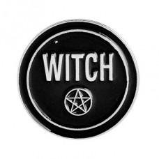 ZN030 Значок Witch с пентаграммой, металл, эмаль 25мм
