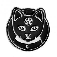 ZN031 Значок Кот с пентаграммой, металл, эмаль 25мм