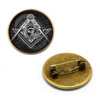 ZNA016 Значок Символ Иллюминатов, d.27мм, цвет бронз.