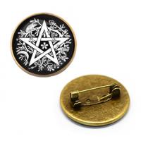 ZNA022 Значок Пентакль Викканская магия, d.27мм, цвет бронз.