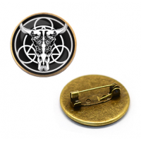 ZNA030 Значок Рогатый череп, d.27мм, цвет бронз.