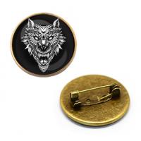 ZNA039 Значок Волк - оборотень, d.27мм, цвет бронз.