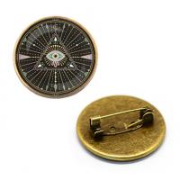 ZNA113 Значок Всевидящее око, d.27мм, цвет бронз.