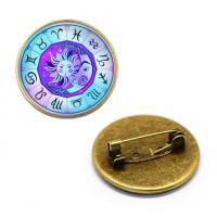ZNA135 Значок Астрологические символы, d.27мм, цвет бронз.