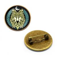 ZNA136 Значок Волк, d.27мм, цвет бронз.