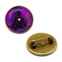 ZNA142 Значок Медитация, d.27мм, цвет бронз.