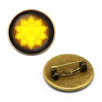 ZNA145 Значок Манипура чакра, d.27мм, цвет бронз.