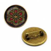 ZNA206 Значок Мандала, d.27мм, цвет бронз.